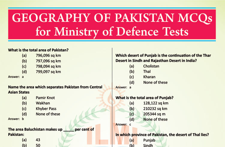 Geography of Pakistan MCQs (Solved) for Competitive Exams/Tests