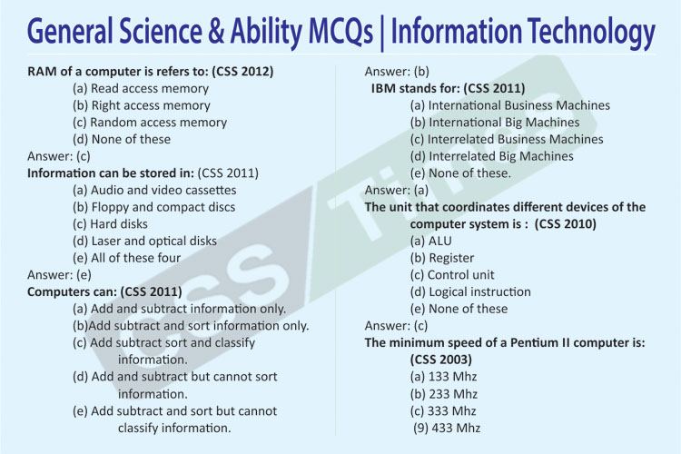 General Science & Ability MCQs | Information Technology