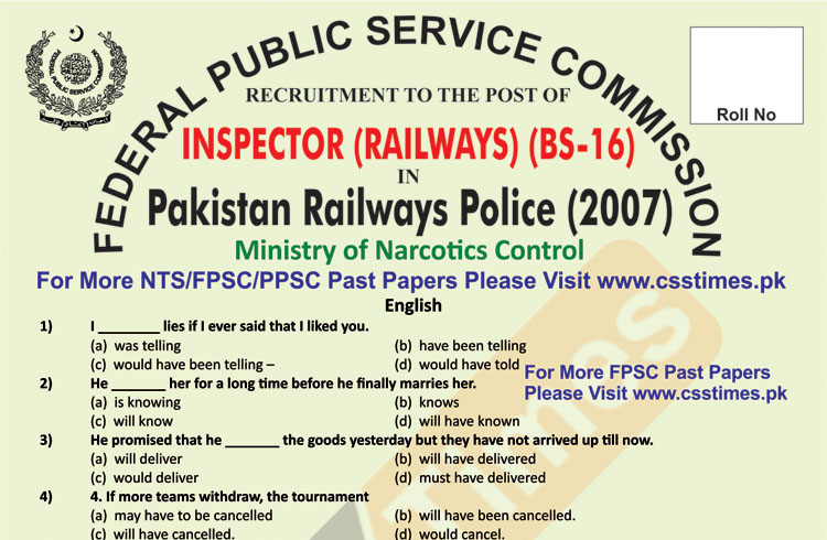 INSPECTORS Railways Past Paper 2007 - Page 1 copy