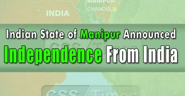 Indian State of Manipur announced independence from India