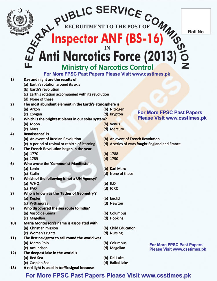 Inspector Anti Narcotics Force (ANF), BS-16 Paper 2013