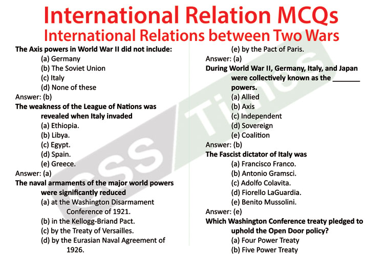 International Relation MCQs | International Relations between Two Wars