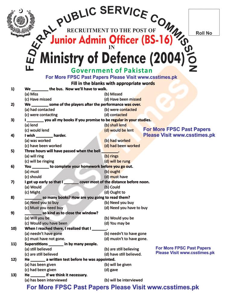 Junior Admin Officer Ministry of Defence (MoD) FPSC Past Paper 2004 (Solved)