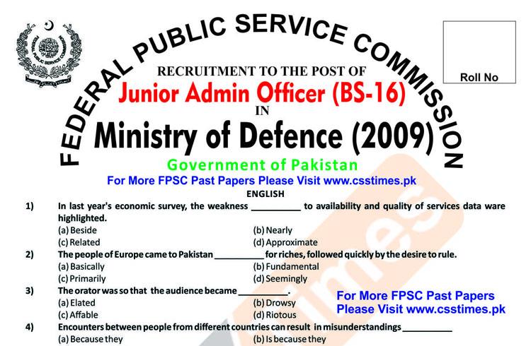 https://www.csstimes.pk/wp-content/uploads/2019/10/Junior-Admin-Officer-MoD-Ministry-of-Defence-Paper-2009.pdf