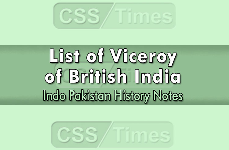 List of Viceroy of British India