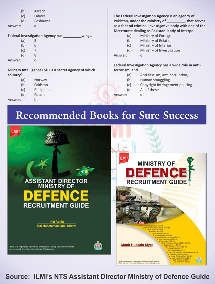 Ministry of defence Jobs Related MCQs