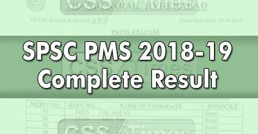 SPSC Announced PMS 2018-19 Complete Result | Download in PDF