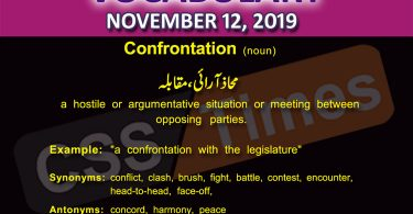 Daily English Vocabulary with Urdu Meaning (12 November 2019)