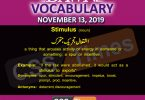 Daily English Vocabulary with Urdu Meaning (13 November 2019)