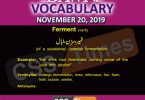 Daily English Vocabulary with Urdu Meaning (20 November 2019)