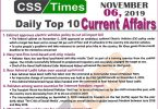 Day by Day Current Affairs (November 06 2019) | MCQs for CSS, PMS