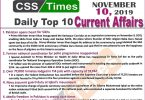 Day by Day Current Affairs (November 10 2019) | MCQs for CSS, PMS