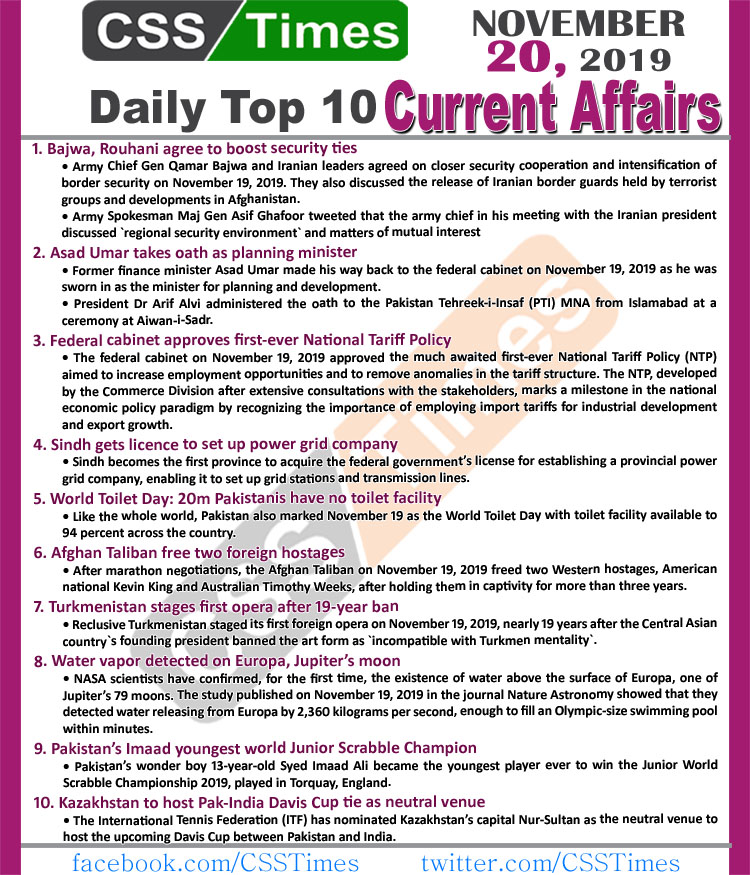 Day by Day Current Affairs (November 20 2019) | MCQs for CSS, PMS