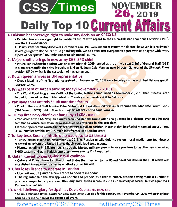 Day by Day Current Affairs (November 26 2019) | MCQs for CSS, PMS