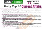 Day by Day Current Affairs (November 27 2019) | MCQs for CSS, PMS