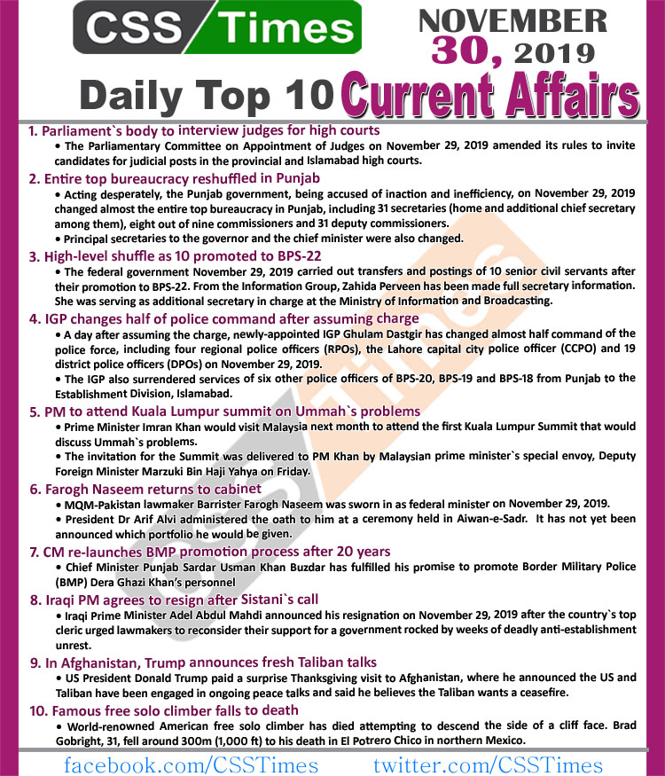 Day by Day Current Affairs (November 30 2019) MCQs for CSS, PMS
