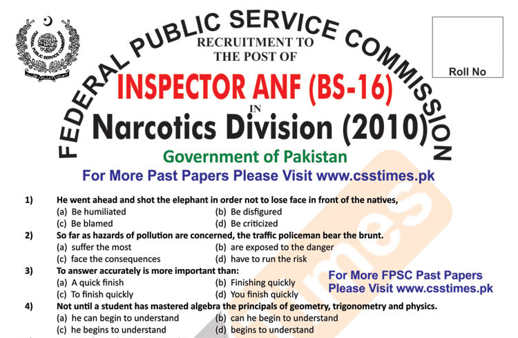 INSPECTOR Anti Narcotics Force (ANF) Paper 2010 BS-16 (FPSC Past Papers Solved)