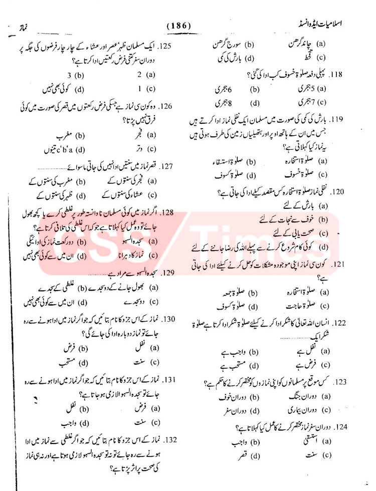 Islamiat MCQs - Important Solved MCQs about Namaz