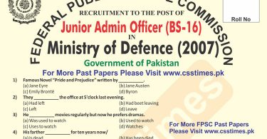 Junior Admin Officer Ministry of Defence (MoD) FPSC Past Paper 2007 (Solved)