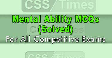 Mental Ability MCQs (Solved)