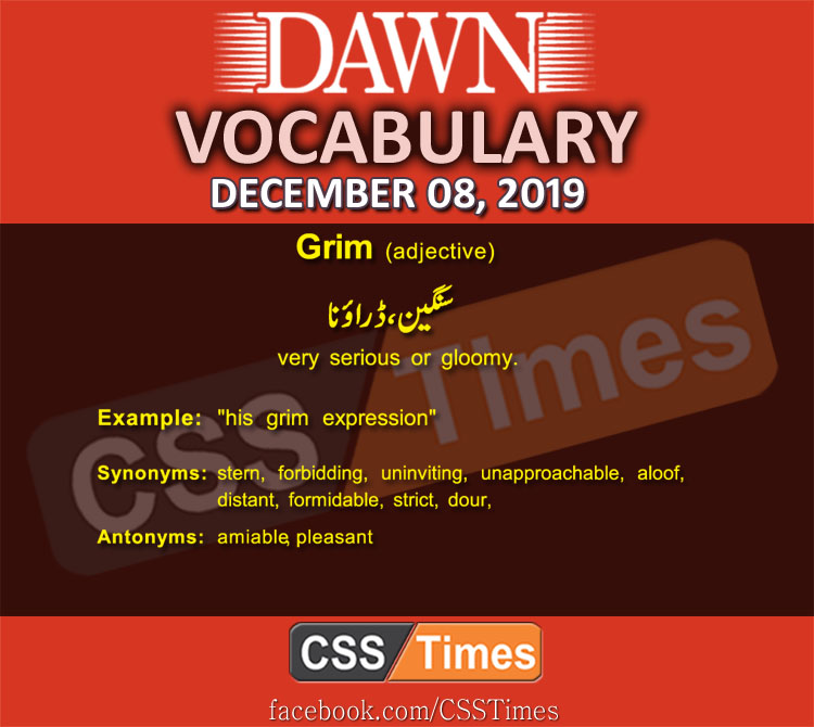 Daily English Vocabulary with Urdu Meaning (08 December 2019)