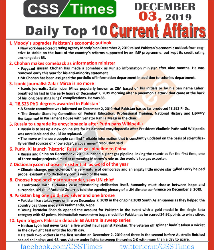 Day by Day Current Affairs (December 03 2019) MCQs for CSS, PMS