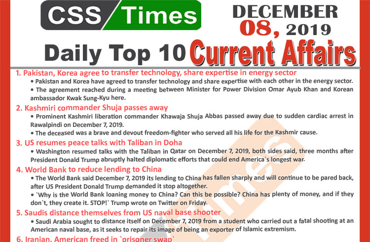 Day by Day Current Affairs (December 08 2019) | MCQs for CSS, PMS