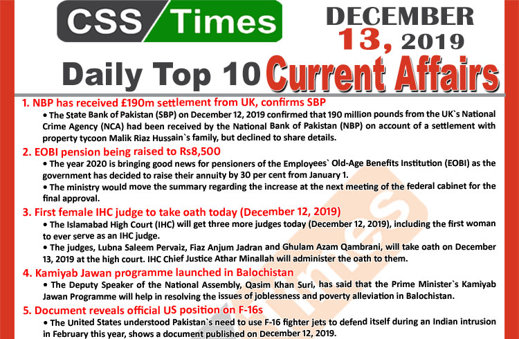 Day by Day Current Affairs (December 13 2019) MCQs for CSS, PMS.JPG