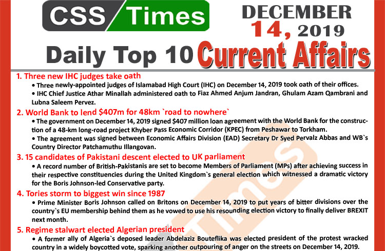 Day by Day Current Affairs (December 14 2019) MCQs for CSS, PMS
