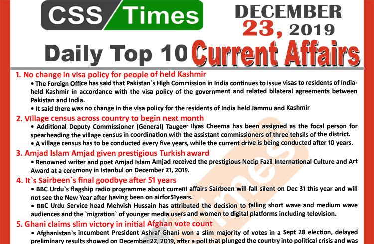 Day by Day Current Affairs (December 22 2019) MCQs for CSS