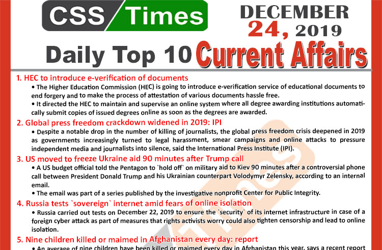 Day by Day Current Affairs (December 24 2019) MCQs for CSS, PMS