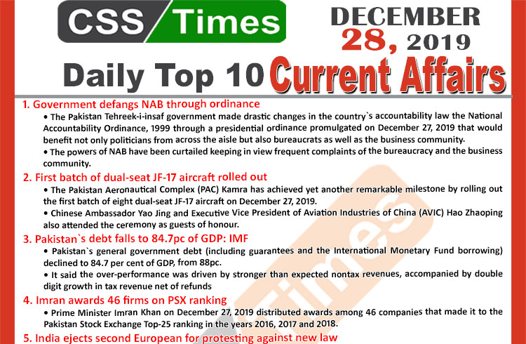 Day by Day Current Affairs (December 28 2019) MCQs for CSS, PMS