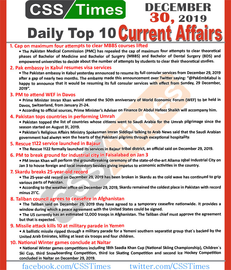 Day by Day Current Affairs (December 30 2019) MCQs for CSS, PMS