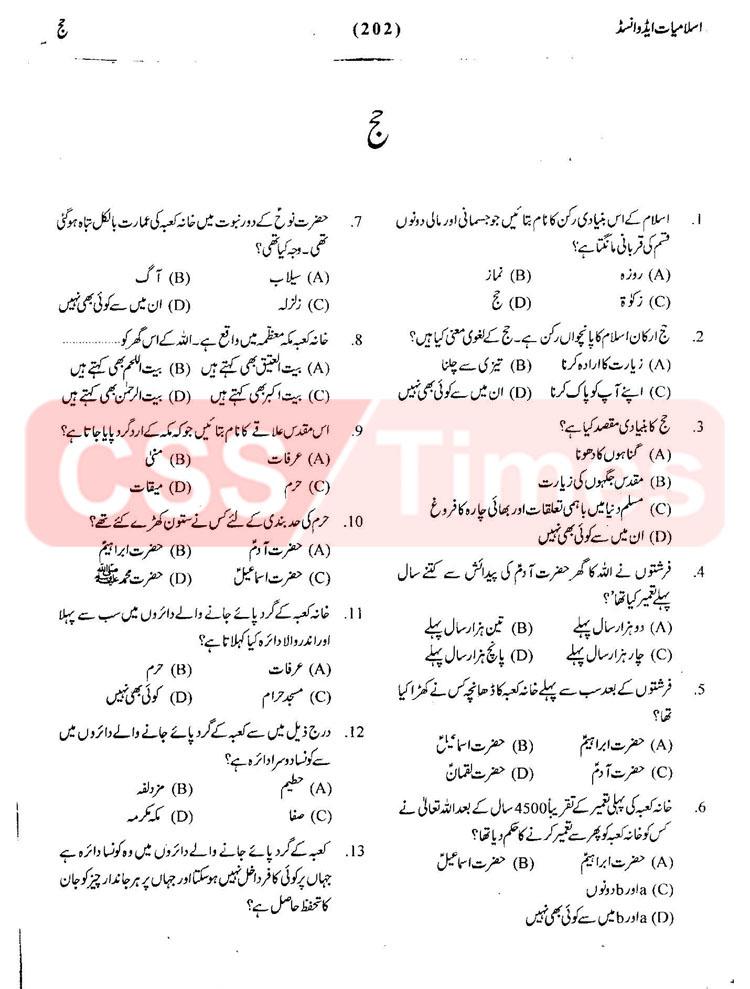 Islamiyat MCQs - Hajj Important Solved MCQs