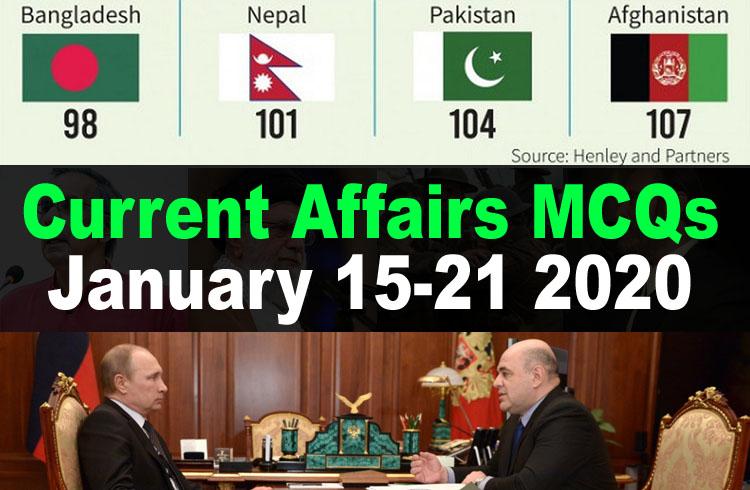 Current Affairs MCQs January 15-21 2020 (Week 3)