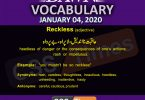 Daily English Vocabulary with Urdu Meaning (04 January 2020)