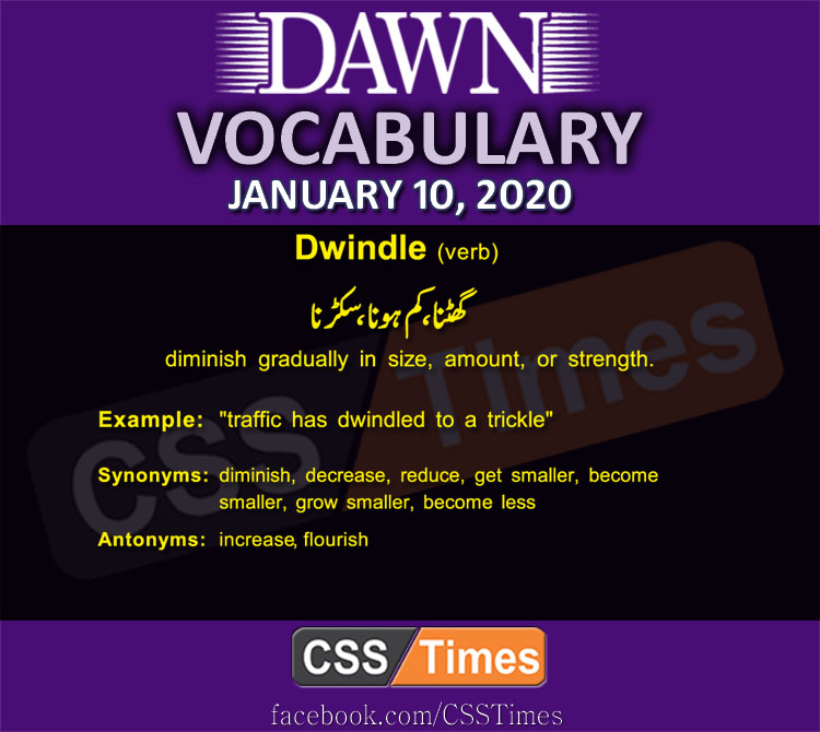 Daily English Vocabulary with Urdu Meaning (10 January 2020)