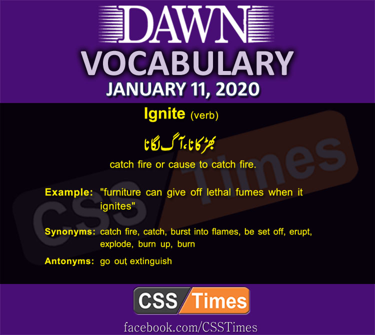 Daily English Vocabulary with Urdu Meaning (11 January 2020)
