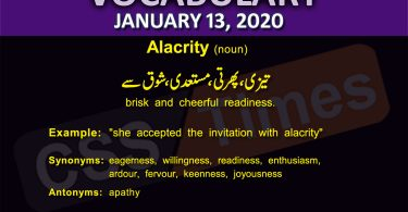 Daily English Vocabulary with Urdu Meaning (13 January 2020)