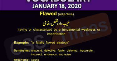 Daily English Vocabulary with Urdu Meaning (18 January 2020)