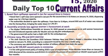 Day by Day Current Affairs (January 15 2020) MCQs for CSS, PMS