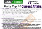 Day by Day Current Affairs (January 17 2020) MCQs for CSS, PMS