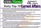Day by Day Current Affairs (January 18 2020) MCQs for CSS, PMS