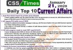 Day by Day Current Affairs (January 21 2020) MCQs for CSS, PMS