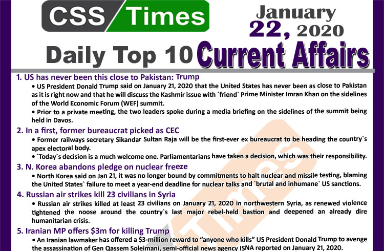 Day by Day Current Affairs (January 22 2020) MCQs for CSS, PMS