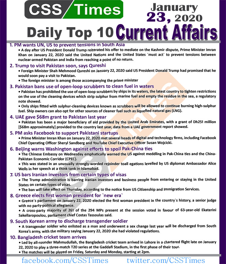 Day by Day Current Affairs (January 23 2020) MCQs for CSS, PMS