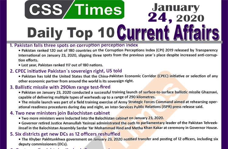 Day by Day Current Affairs (January 24 2020) MCQs for CSS, PMS