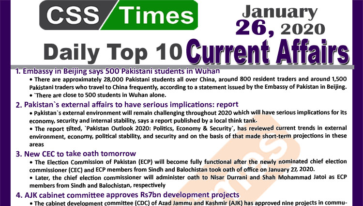 Day by Day Current Affairs (January 26 2020) MCQs for CSS, PMS