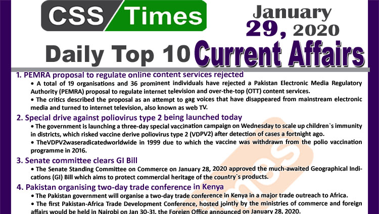 Day by Day Current Affairs (January 29 2020) MCQs for CSS, PMS