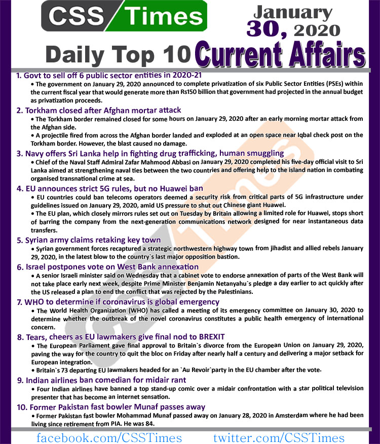 Day by Day Current Affairs (January 30 2020) MCQs for CSS, PMS